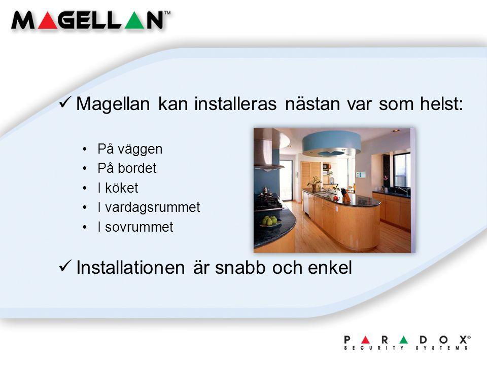 Magellan kan installeras nästan var som helst: På väggen På bordet I köket I vardagsrummet I sovrummet Installationen är snabb och enkel