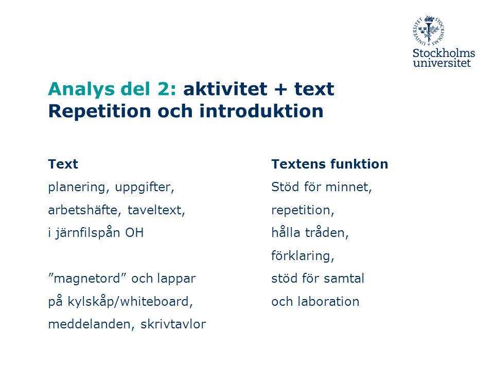 Analys del 2: aktivitet + text Repetition och introduktion Text planering, uppgifter, arbetshäfte, taveltext, i järnfilspån OH magnetord och lappar på kylskåp/whiteboard, meddelanden, skrivtavlor Textens funktion Stöd för minnet, repetition, hålla tråden, förklaring, stöd för samtal och laboration