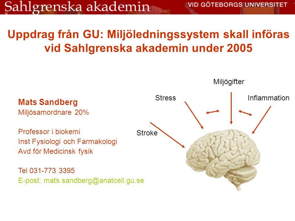 Uppdrag från GU: Miljöledningssystem skall införas vid Sahlgrenska akademin under 2005 Mats Sandberg Miljösamordnare 20% Professor i biokemi Inst Fysi