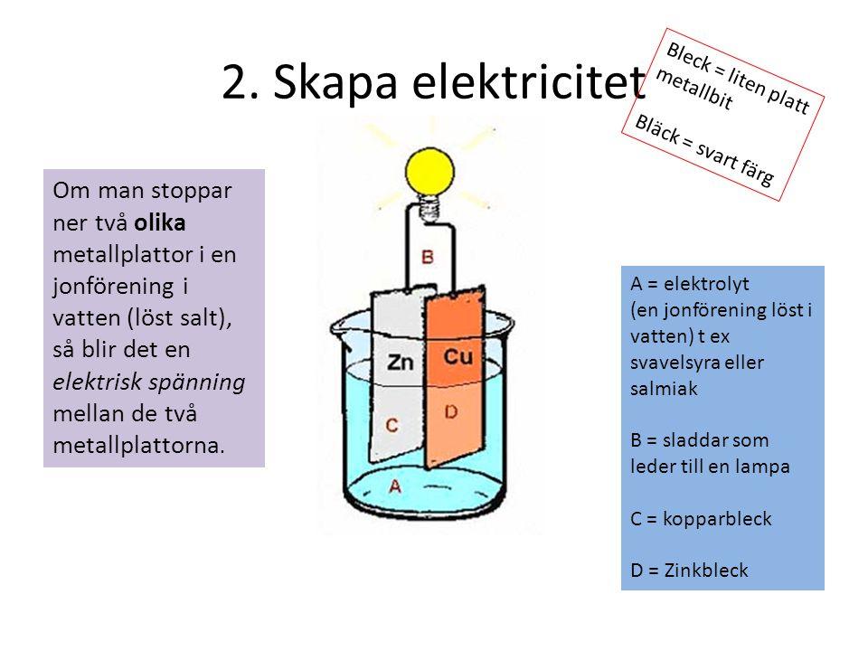 2. Skapa elektricitet A = elektrolyt (en jonförening löst i vatten) t ex svavelsyra eller salmiak B = sladdar som leder till en lampa C = kopparbleck
