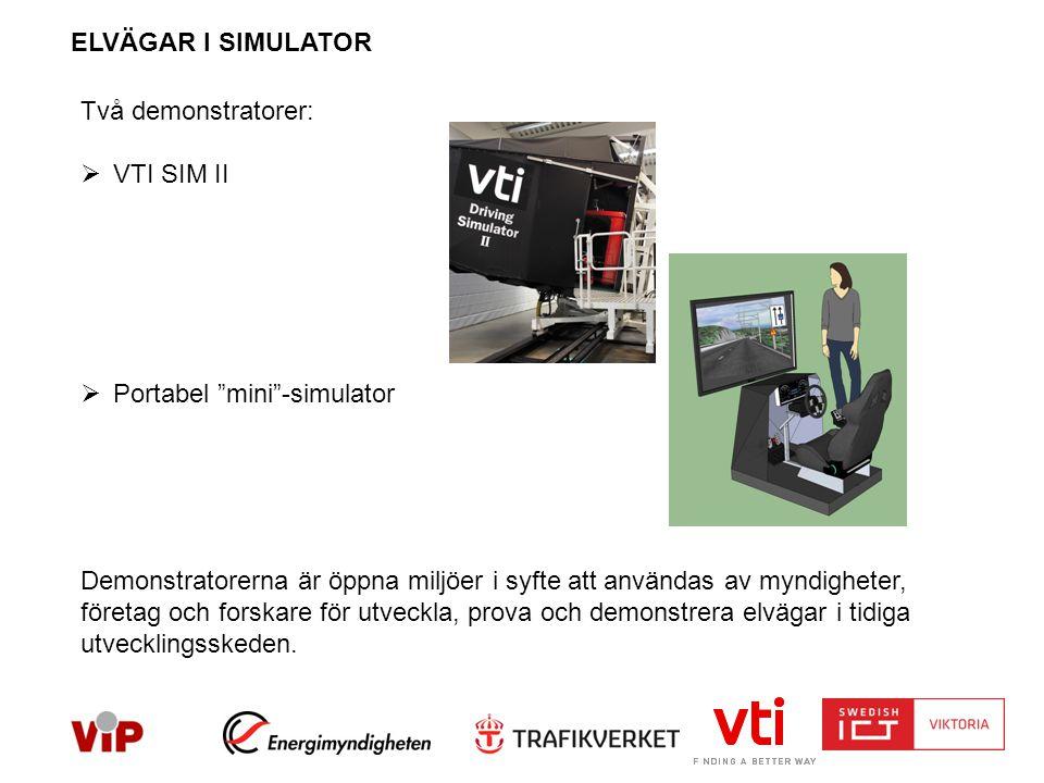 ELVÄGAR I SIMULATOR Två demonstratorer:  VTI SIM II  Portabel mini -simulator Demonstratorerna är öppna miljöer i syfte att användas av myndigheter, företag och forskare för utveckla, prova och demonstrera elvägar i tidiga utvecklingsskeden.