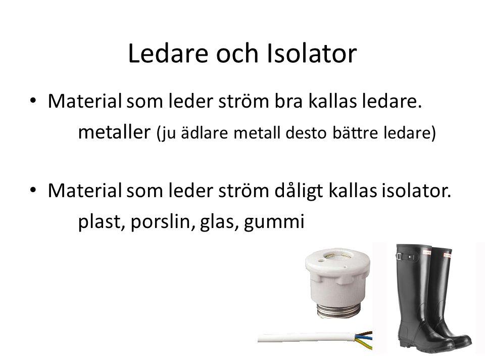 Ledare och Isolator Material som leder ström bra kallas ledare. metaller (ju ädlare metall desto bättre ledare) Material som leder ström dåligt kallas