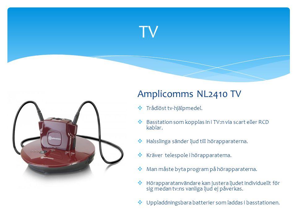 TV Amplicomms NL2410 TV  Trådlöst tv-hjälpmedel.  Basstation som kopplas in i TV:n via scart eller RCD kablar.  Halsslinga sänder ljud till hörappa
