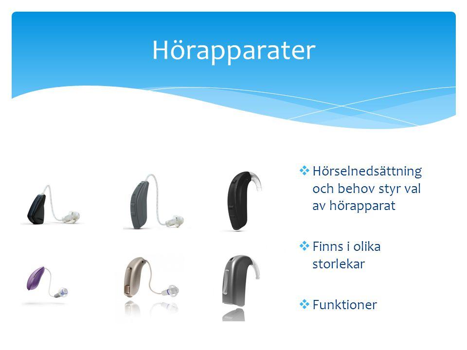 Hörapparater  Hörselnedsättning och behov styr val av hörapparat  Finns i olika storlekar  Funktioner