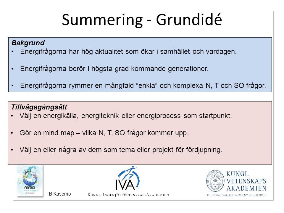 B Kasemo Summering - Grundidé Bakgrund Energifrågorna har hög aktualitet som ökar i samhället och vardagen.