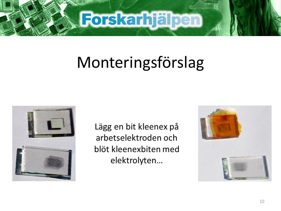 Monteringsförslag Lägg en bit kleenex på arbetselektroden och blöt kleenexbiten med elektrolyten… 10