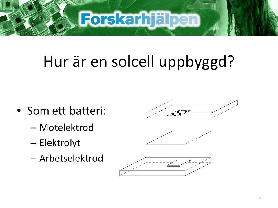 Hur är en solcell uppbyggd? Som ett batteri: – Motelektrod – Elektrolyt – Arbetselektrod 4