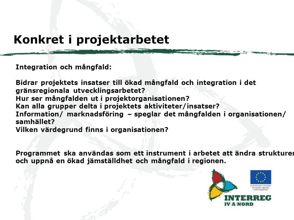 Integration och mångfald: Bidrar projektets insatser till ökad mångfald och integration i det gränsregionala utvecklingsarbetet.