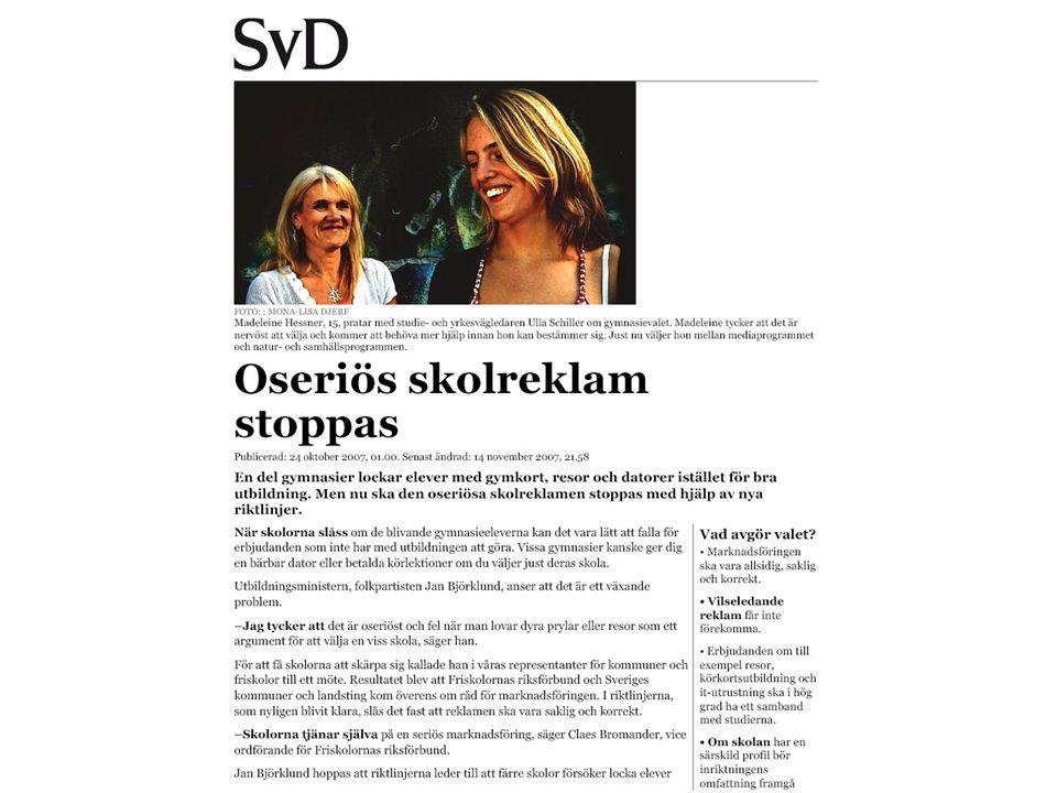 Bild på hemsidanSkolans intagningspoäng, medelvärde 0-170171-179180-209210-239240- Kvinna svenskt utseende, yrkesaktivitet50 %0 % Kvinna svensk utseende, studieaktivitet50 %17 %7 %10 %27 % Grupp kvinnor, svenskt utseende, studieaktivitet0 % 3 %10 %27 % Grupp kvinnor, svensk utseende, ingen aktivitet0 % 10 %0 %27 % Man svenskt utseende, yrkesaktivitet50 %17 %3 %10 %0 % Kvinnor & män i grupp, svenskt utseende, studieaktivitet 0 % 7 %20 %27 % Skillnader på hemsidornas bilder på människor beroende på intagningspoäng