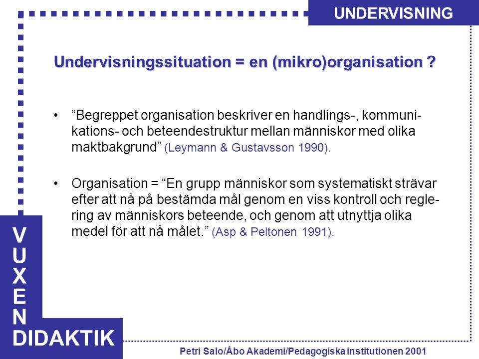 VUXENVUXEN DIDAKTIK UNDERVISNING Petri Salo/Åbo Akademi/Pedagogiska institutionen 2001 Undervisningssituation = en (mikro)organisation .