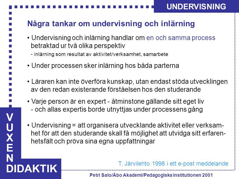 VUXENVUXEN DIDAKTIK UNDERVISNING Petri Salo/Åbo Akademi/Pedagogiska institutionen 2001 Några tankar om undervisning och inlärning Undervisning och inl
