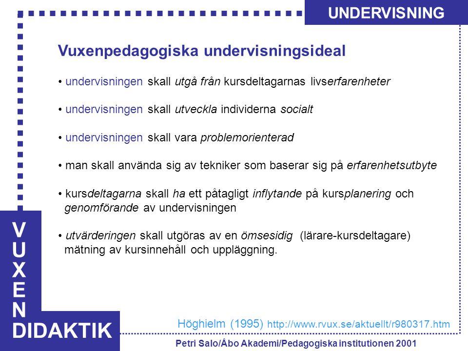 VUXENVUXEN DIDAKTIK UNDERVISNING Petri Salo/Åbo Akademi/Pedagogiska institutionen 2001 Vuxenpedagogiska undervisningsideal undervisningen skall utgå f
