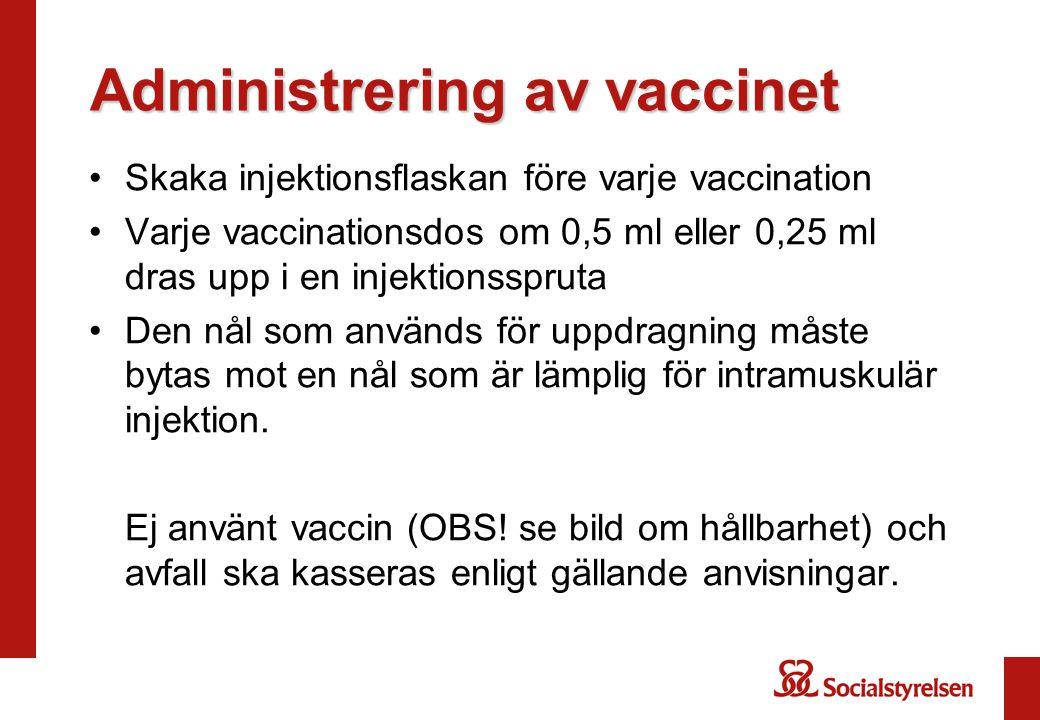 Administrering av vaccinet Skaka injektionsflaskan före varje vaccination Varje vaccinationsdos om 0,5 ml eller 0,25 ml dras upp i en injektionsspruta