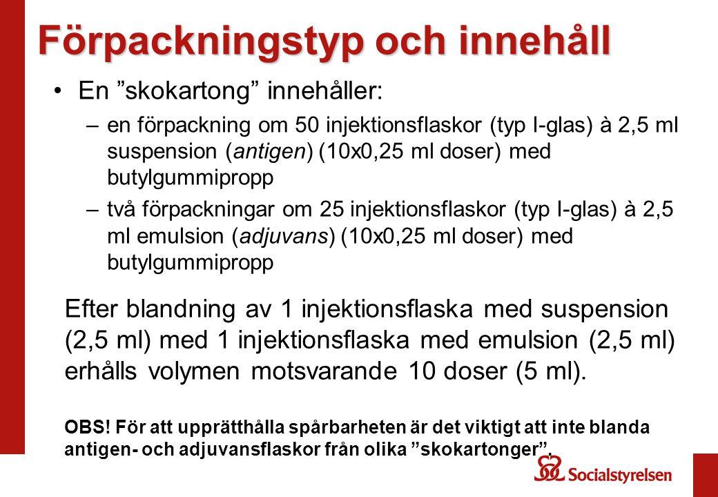 """Förpackningstyp och innehåll En """"skokartong"""" innehåller: –en förpackning om 50 injektionsflaskor (typ I-glas) à 2,5 ml suspension (antigen) (10x0,25 m"""