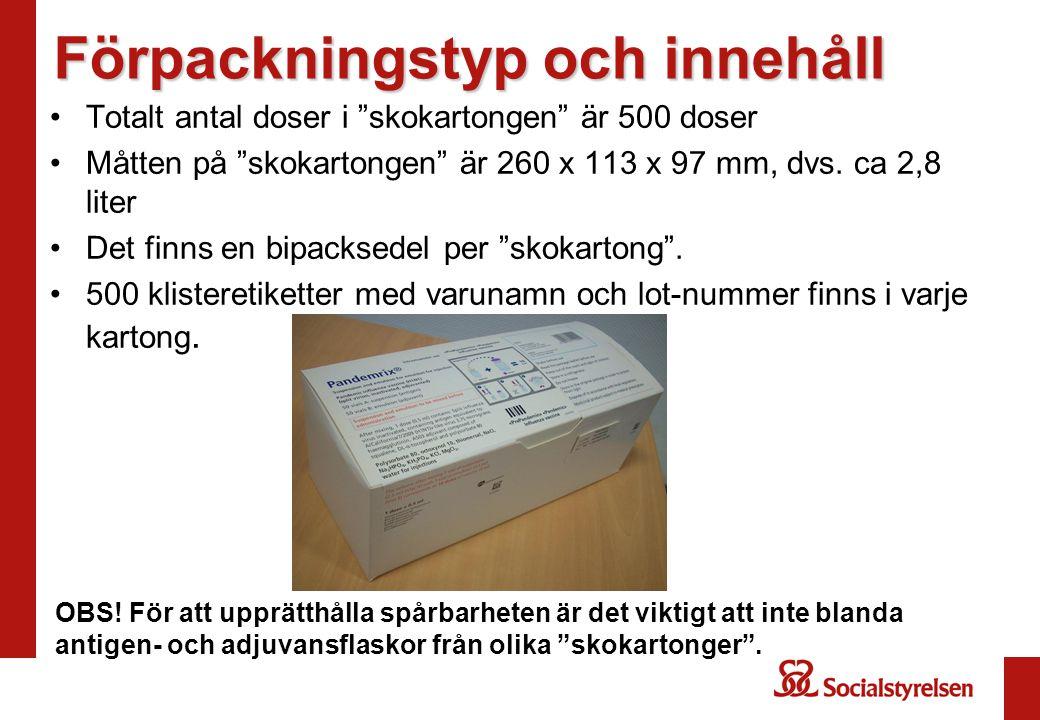 """Förpackningstyp och innehåll Totalt antal doser i """"skokartongen"""" är 500 doser Måtten på """"skokartongen"""" är 260 x 113 x 97 mm, dvs. ca 2,8 liter Det fin"""