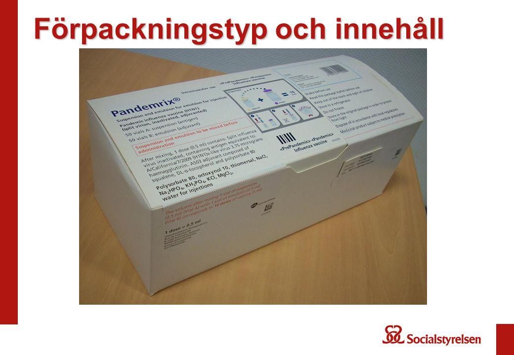 De två flaskorna ska mixas före vaccination AS03 adjuvant 10 doser H1N1 antigen 10 doser En skokartong (500 doser) innehåller: 2 boxar adjuvans (2 x 25 vials) 1 box antigen (1 x 50 vials)