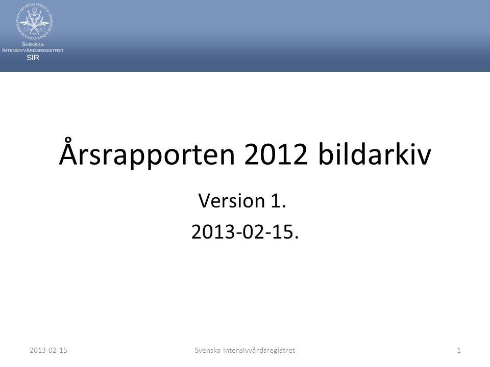 2013-02-15Svenska Intensivvårdsregistret1 Årsrapporten 2012 bildarkiv Version 1. 2013-02-15.