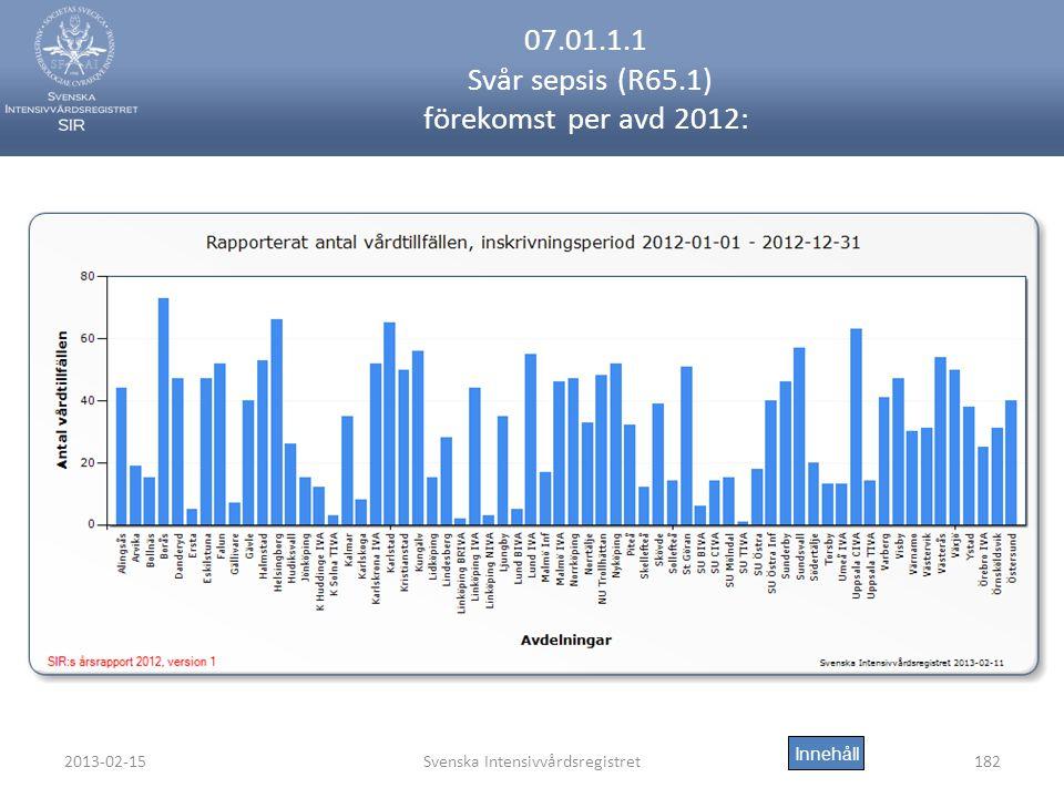 2013-02-15Svenska Intensivvårdsregistret182 07.01.1.1 Svår sepsis (R65.1) förekomst per avd 2012: Innehåll