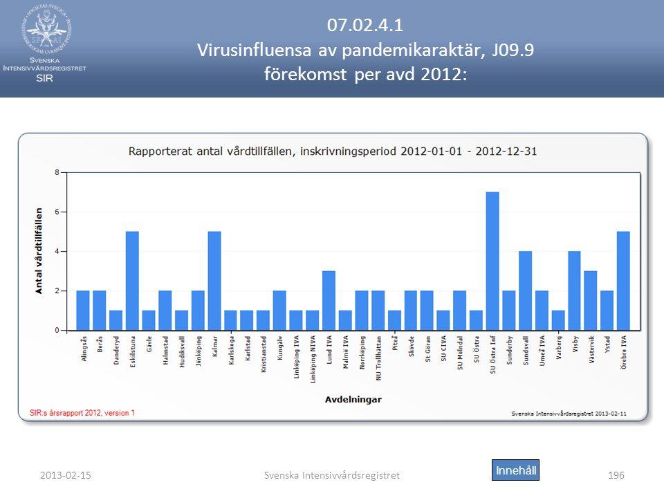 2013-02-15Svenska Intensivvårdsregistret196 07.02.4.1 Virusinfluensa av pandemikaraktär, J09.9 förekomst per avd 2012: Innehåll