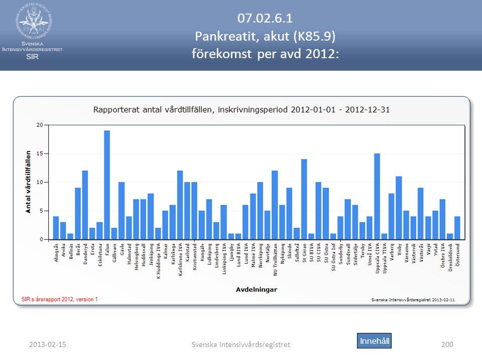 2013-02-15Svenska Intensivvårdsregistret200 07.02.6.1 Pankreatit, akut (K85.9) förekomst per avd 2012: Innehåll