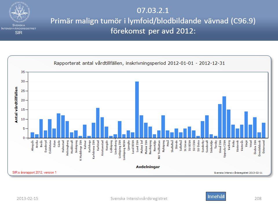2013-02-15Svenska Intensivvårdsregistret208 07.03.2.1 Primär malign tumör i lymfoid/blodbildande vävnad (C96.9) förekomst per avd 2012: Innehåll