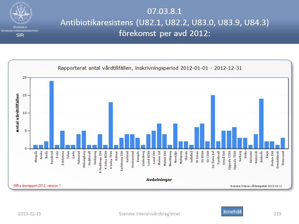2013-02-15Svenska Intensivvårdsregistret219 07.03.8.1 Antibiotikaresistens (U82.1, U82.2, U83.0, U83.9, U84.3) förekomst per avd 2012: Innehåll