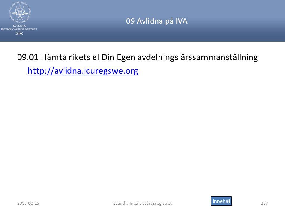 2013-02-15Svenska Intensivvårdsregistret237 09 Avlidna på IVA 09.01 Hämta rikets el Din Egen avdelnings årssammanställning http://avlidna.icuregswe.org Innehåll