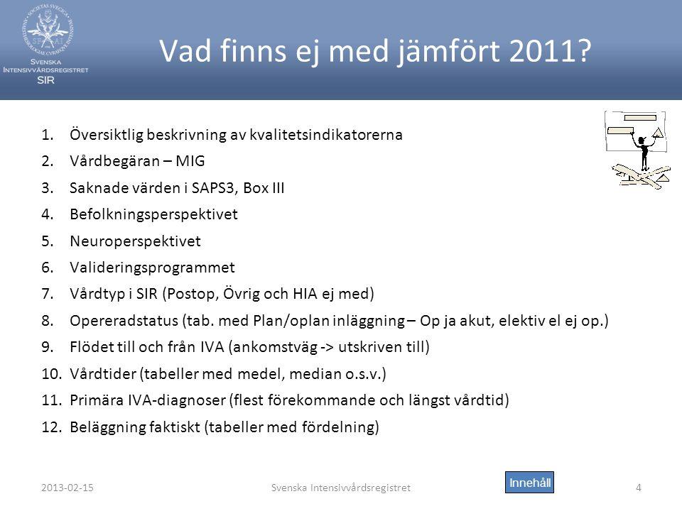 2013-02-15Svenska Intensivvårdsregistret4 Vad finns ej med jämfört 2011.