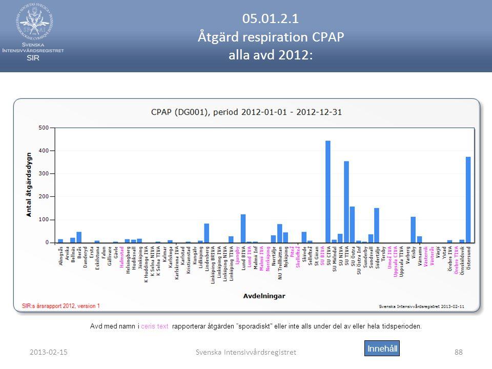 2013-02-15Svenska Intensivvårdsregistret88 05.01.2.1 Åtgärd respiration CPAP alla avd 2012: Innehåll Avd med namn i ceris text rapporterar åtgärden sporadiskt eller inte alls under del av eller hela tidsperioden.