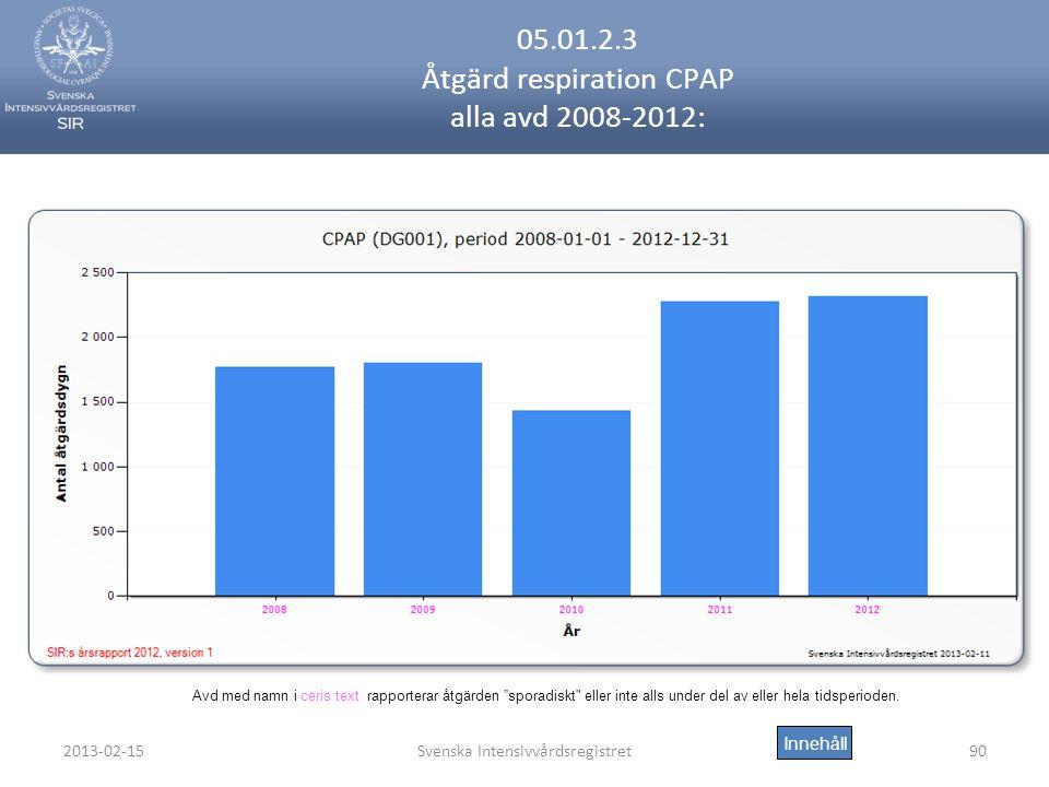 2013-02-15Svenska Intensivvårdsregistret90 05.01.2.3 Åtgärd respiration CPAP alla avd 2008-2012: Innehåll Avd med namn i ceris text rapporterar åtgärden sporadiskt eller inte alls under del av eller hela tidsperioden.