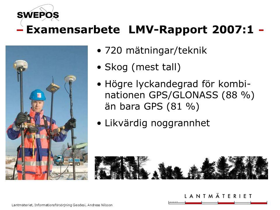 Lantmäteriet, Informationsförsörjning Geodesi, Andreas Nilsson 720 mätningar/teknik Skog (mest tall) Högre lyckandegrad för kombi- nationen GPS/GLONAS