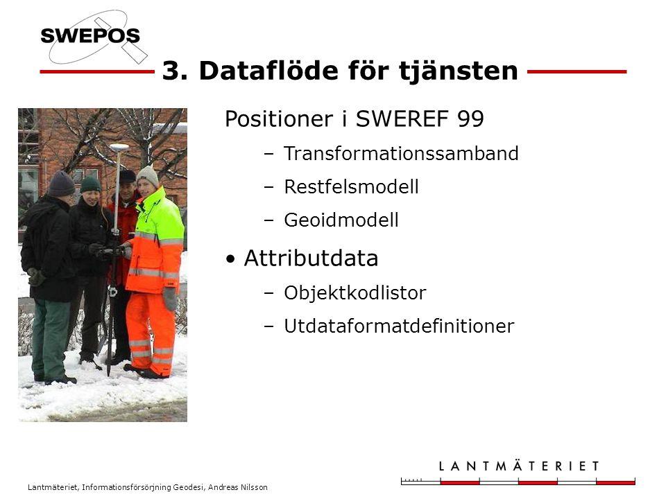 Lantmäteriet, Informationsförsörjning Geodesi, Andreas Nilsson Lagring av mätdata Mätningen görs i SWEREF 99, men kan transformeras till annat system För att rätt återföra mätningarna till SWEREF 99 vid ett systembyte krävs: –Inverstransformation, dvs.