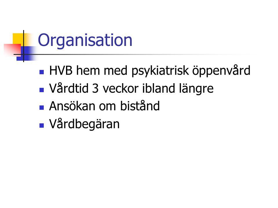 Organisation HVB hem med psykiatrisk öppenvård Vårdtid 3 veckor ibland längre Ansökan om bistånd Vårdbegäran