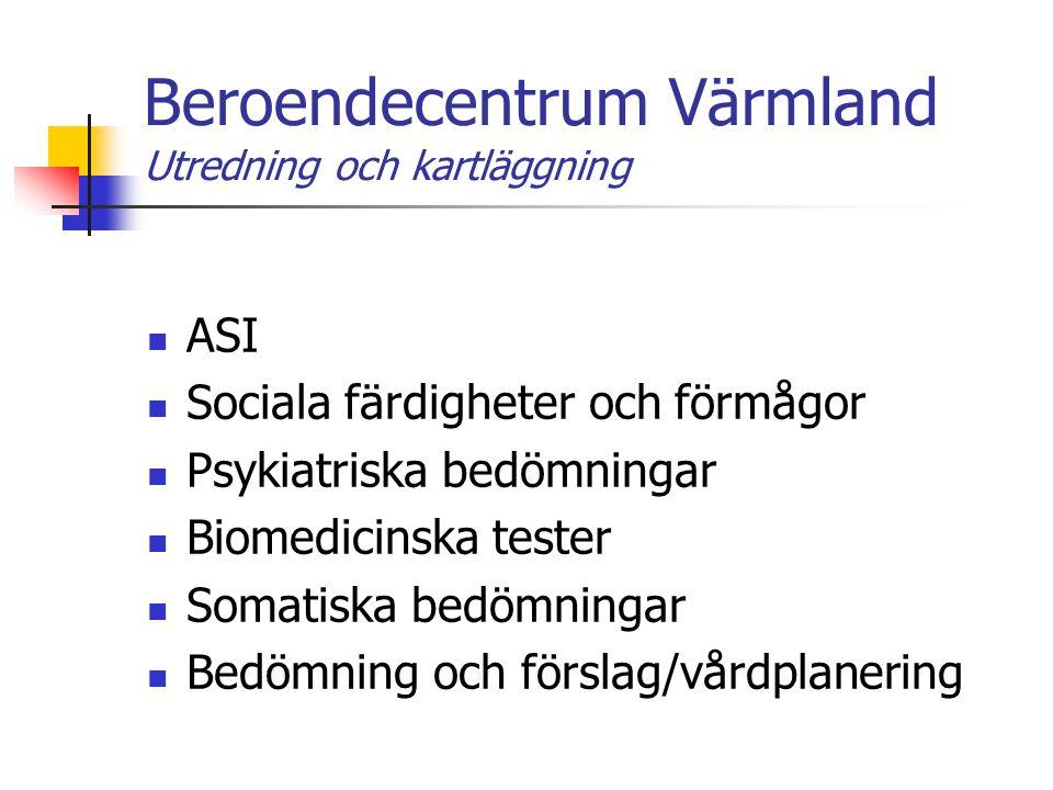 Beroendecentrum Värmland Utredning och kartläggning ASI Sociala färdigheter och förmågor Psykiatriska bedömningar Biomedicinska tester Somatiska bedöm