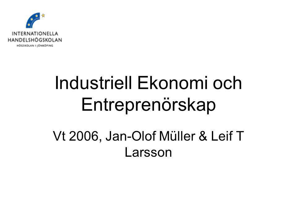 IndEkEnt, Vt 20062 Mål med kursen Ge er en övergripande förståelse för företagsekonomi både avseende grundantaganden, begrepp och några modeller – ni får basen här.