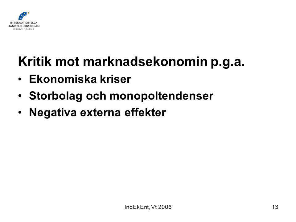 IndEkEnt, Vt 200613 Kritik mot marknadsekonomin p.g.a.