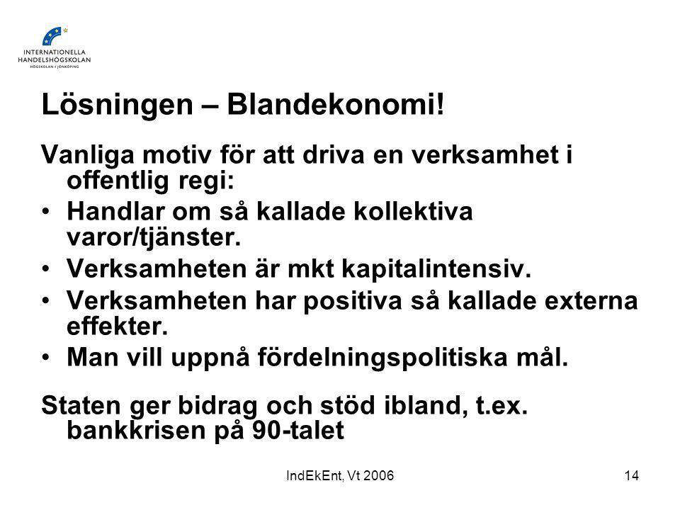 IndEkEnt, Vt 200614 Lösningen – Blandekonomi.