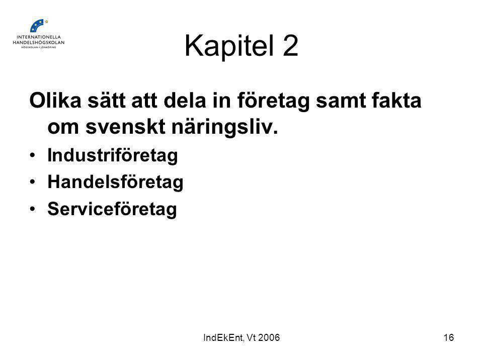 IndEkEnt, Vt 200616 Kapitel 2 Olika sätt att dela in företag samt fakta om svenskt näringsliv.