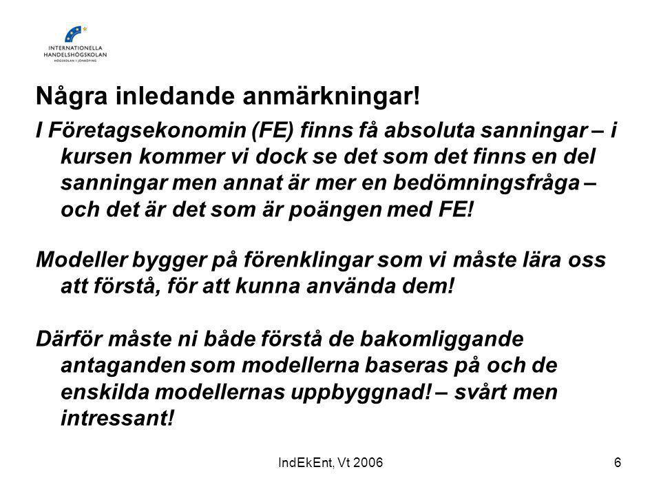IndEkEnt, Vt 20067 Ekonomi – hushållning/förvaltning (grek.) Företagsekonomi – läran om hushållning med knappa resurser.