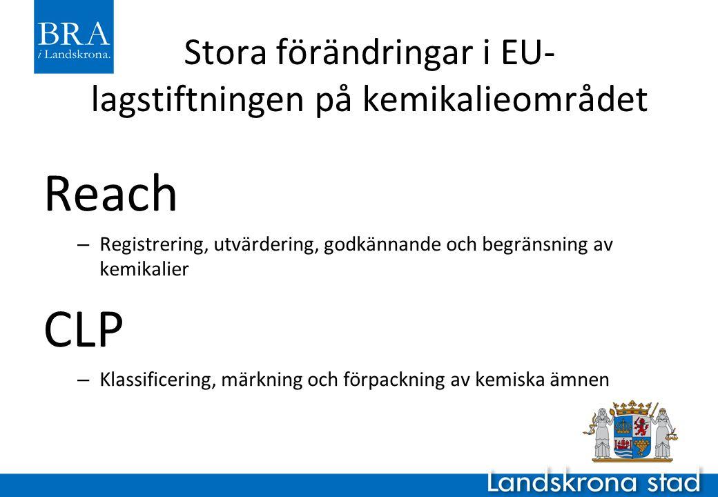 Stora förändringar i EU- lagstiftningen på kemikalieområdet Reach – Registrering, utvärdering, godkännande och begränsning av kemikalier CLP – Klassif