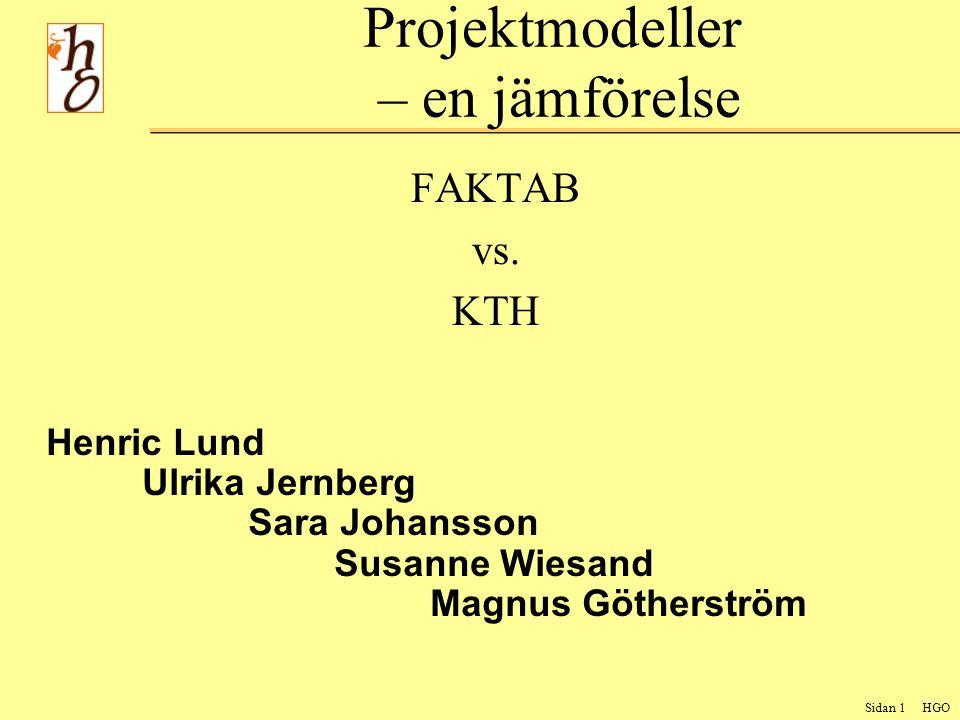 Sidan 2 HGO Uppdraget Jämförelse av projektmodeller Faktab vs. KTH Genomförande av uppdraget