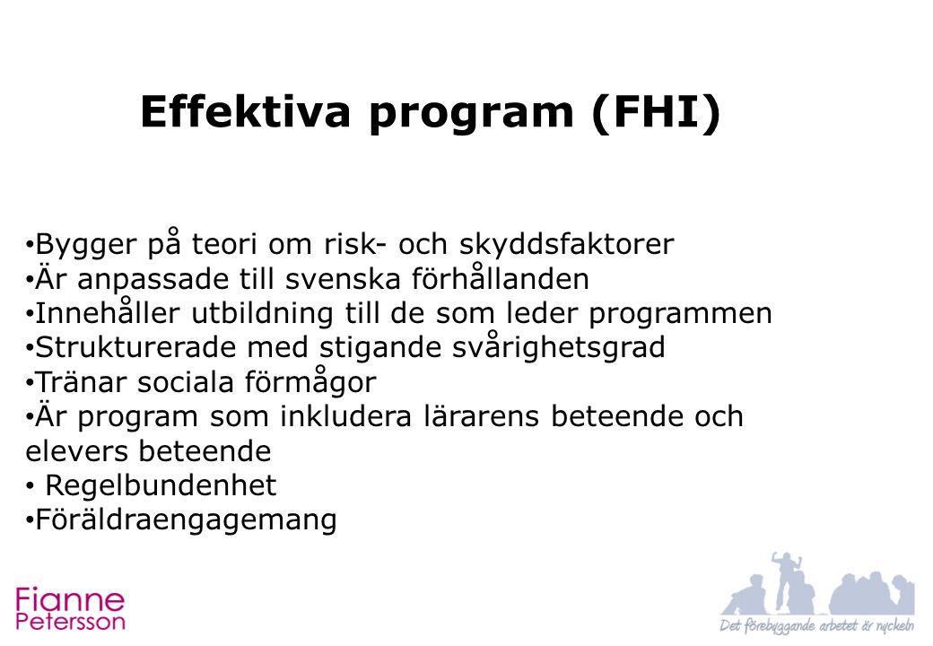 Effektiva program (FHI) Bygger på teori om risk- och skyddsfaktorer Är anpassade till svenska förhållanden Innehåller utbildning till de som leder programmen Strukturerade med stigande svårighetsgrad Tränar sociala förmågor Är program som inkludera lärarens beteende och elevers beteende Regelbundenhet Föräldraengagemang