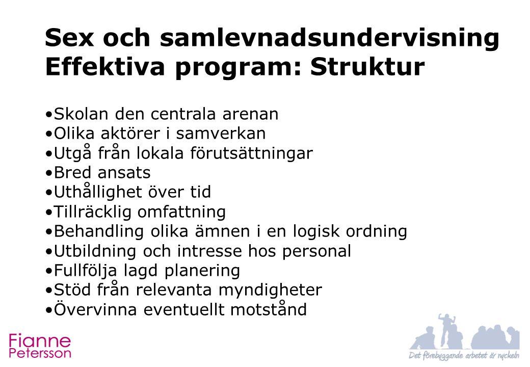 Sex och samlevnadsundervisning Effektiva program: Struktur Skolan den centrala arenan Olika aktörer i samverkan Utgå från lokala förutsättningar Bred