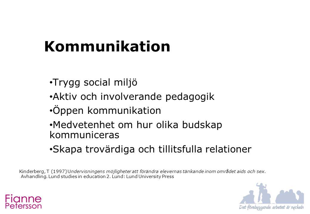 Kommunikation Trygg social miljö Aktiv och involverande pedagogik Öppen kommunikation Medvetenhet om hur olika budskap kommuniceras Skapa trovärdiga o