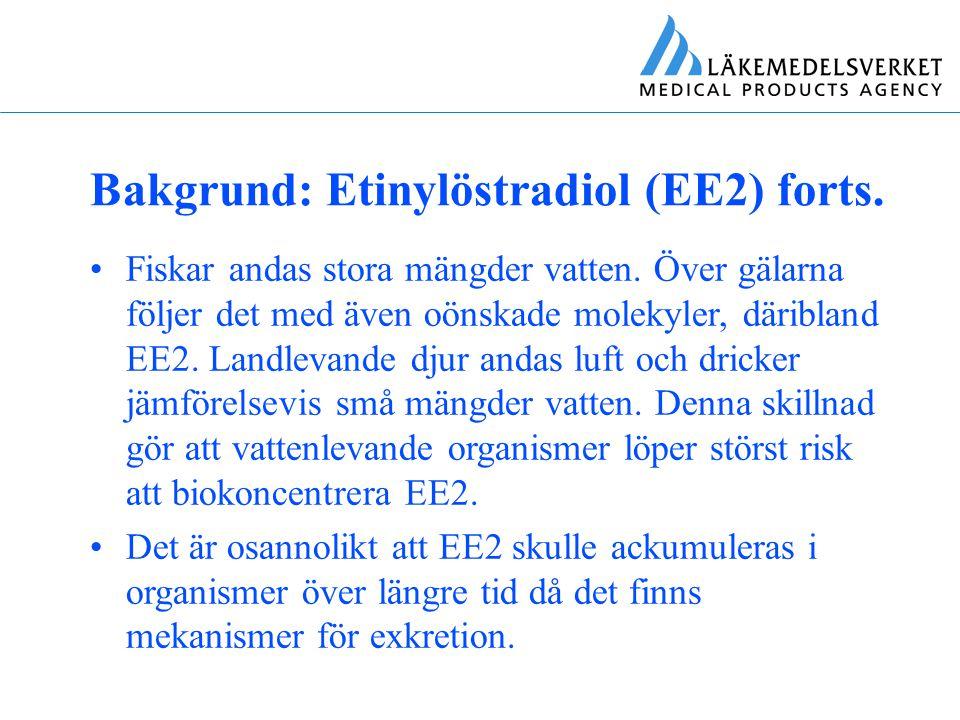 Bakgrund: Etinylöstradiol (EE2) forts. Fiskar andas stora mängder vatten. Över gälarna följer det med även oönskade molekyler, däribland EE2. Landleva