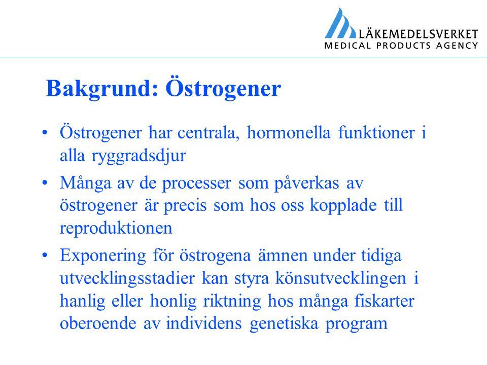 Bakgrund: Etinylöstradiol (EE2) Syntetiskt östrogen som används i p-piller samt EVRA och NuvaRing Mängden EE2 som förskrivs per år i Sverige uppgår endast till några kg EE2 är dock potent, relativt svårnedbrytbart och kan biokoncentreras i t.ex.