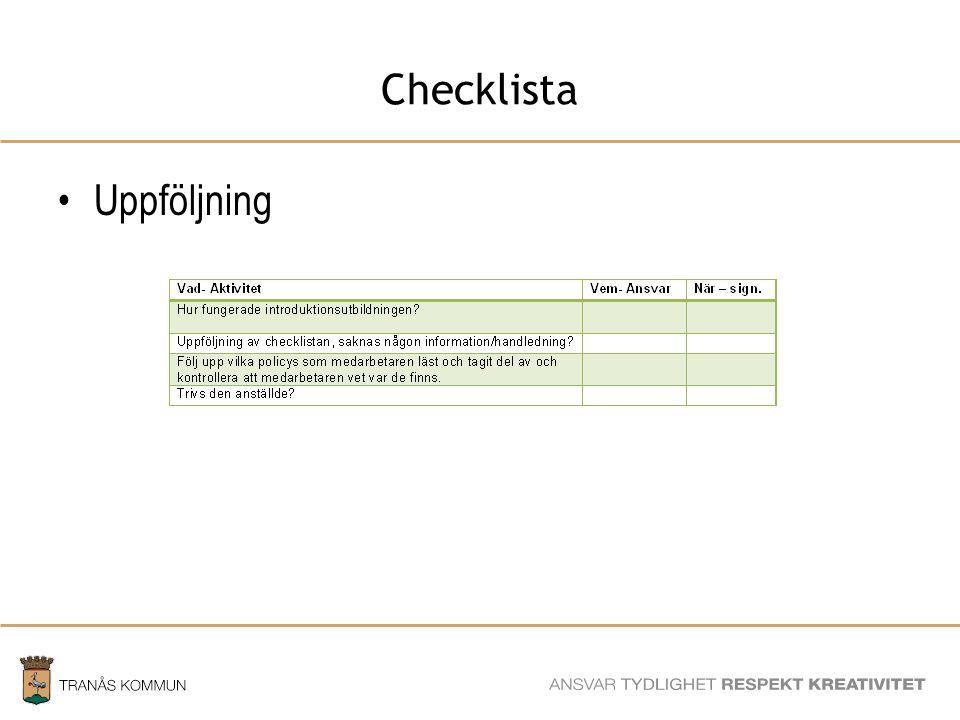 SAMHÄLLSBYGGNADSFÖRVALTNINGEN Checklista Uppföljning