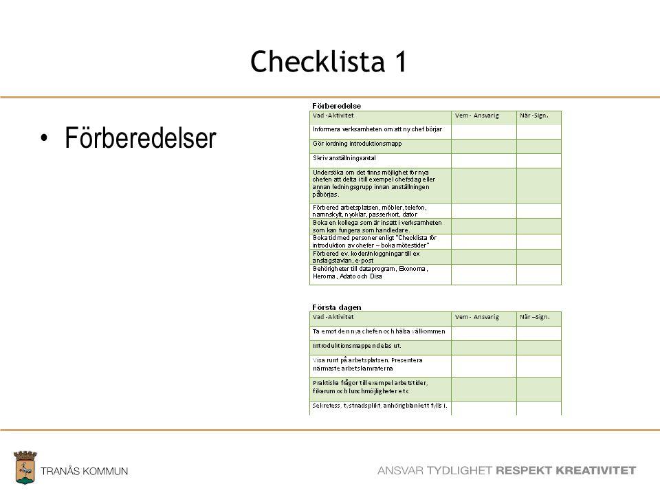 SAMHÄLLSBYGGNADSFÖRVALTNINGEN Checklista 1 Förberedelser
