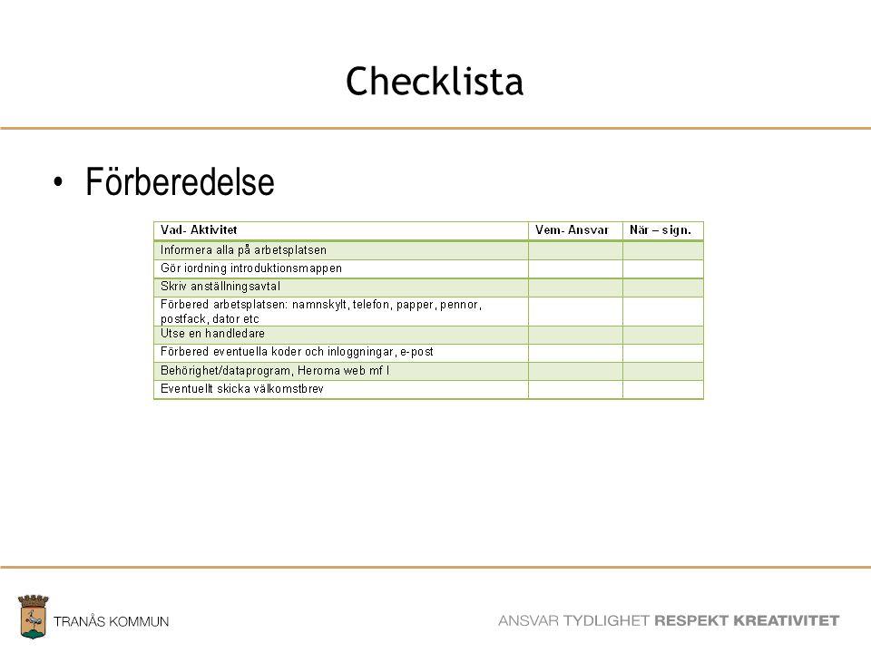 SAMHÄLLSBYGGNADSFÖRVALTNINGEN Checklista Förberedelse