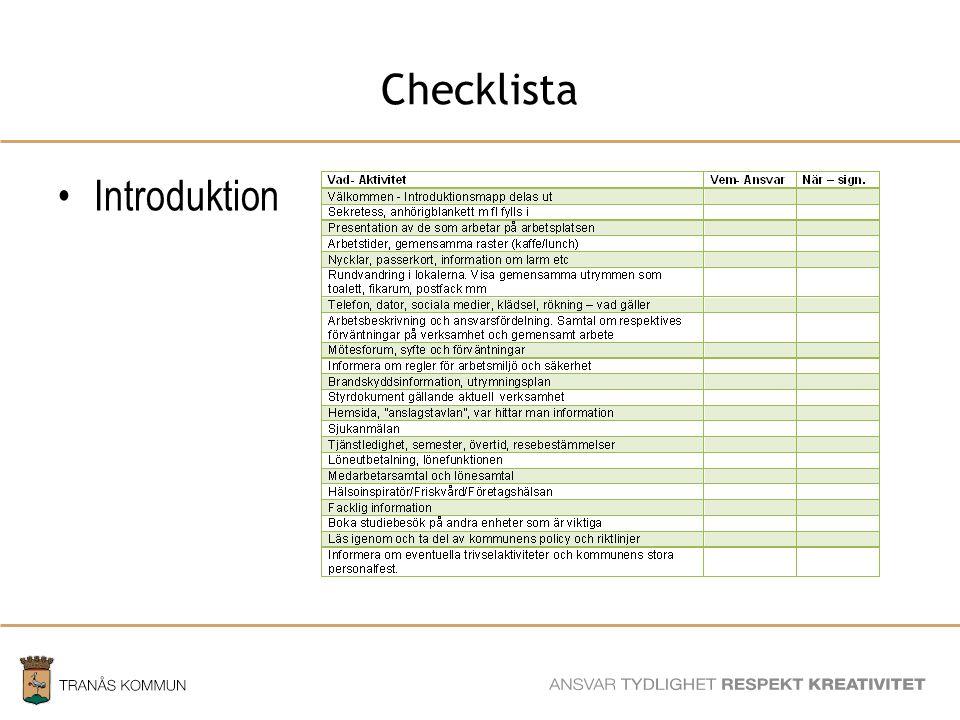 SAMHÄLLSBYGGNADSFÖRVALTNINGEN Checklista Kommunövergripande